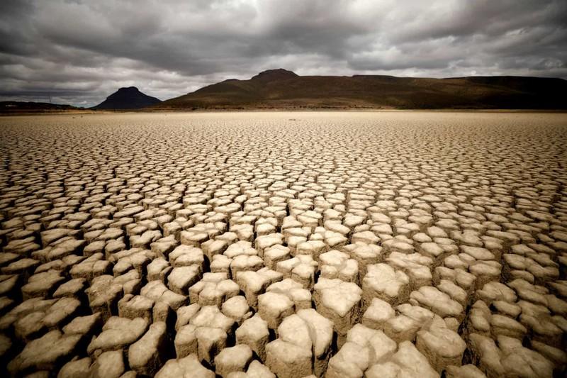 Hạn hán khiến đất đai nứt nẻ ở Nam Phi.